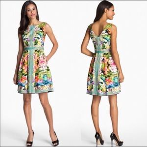 Maggy London Tropical Print Fit & Flare Dress